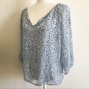 Laundry Blue & White Printed Flowy Blouse